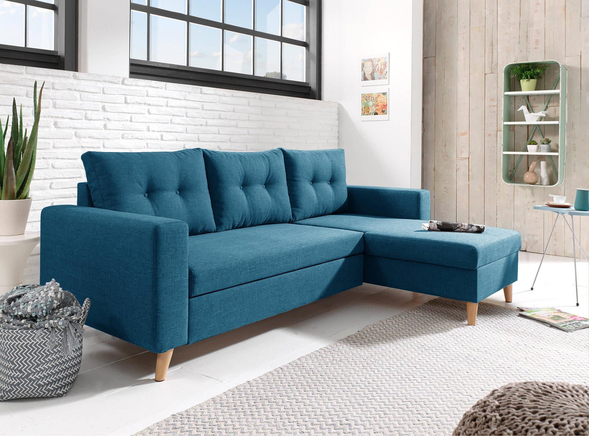 Salon Gris Et Bleu Canard nordic - canapé d'angle scandinave bleu canard réversible et