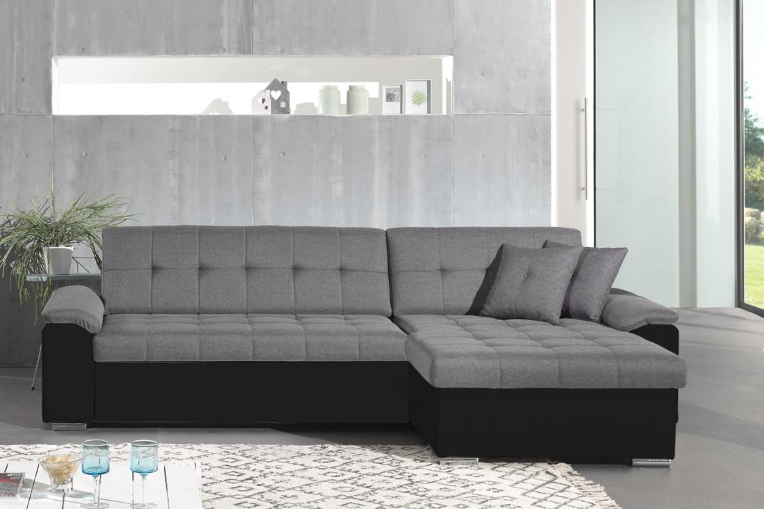 HANS - Canapé d'angle réversible convertible en tissu et simili