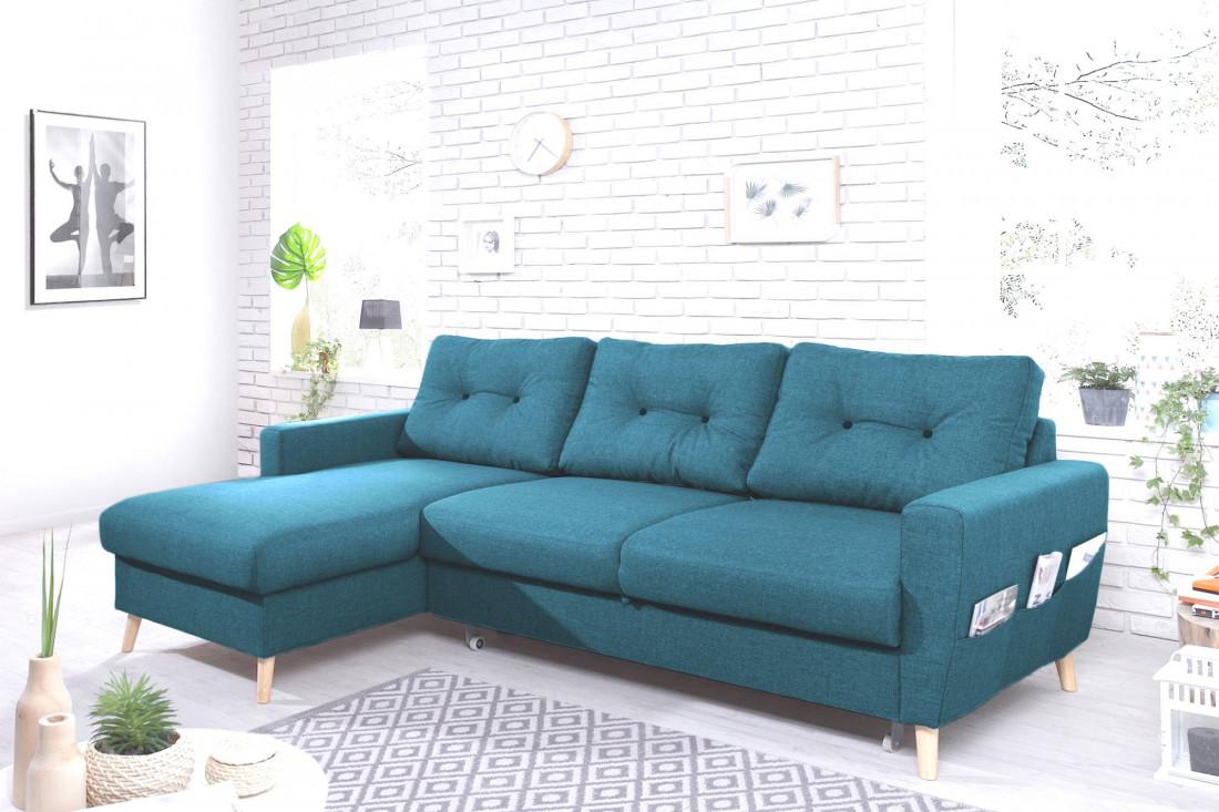 magasin en ligne b7844 f36f3 OSLO - Canapé d'angle gauche convertible - Bleu canard - 225x147x86cm -  Bobochic