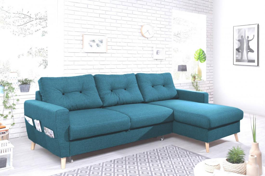 magasin en ligne 0f378 c1069 OSLO - Canapé d'angle droit convertible - Bleu canard - 225x147x86cm -  Bobochic