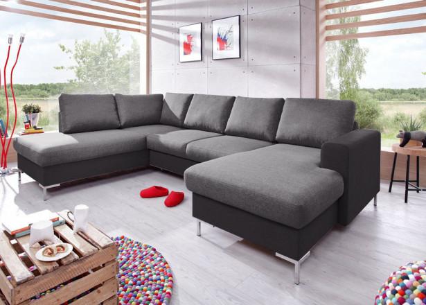 BOBOCHIC LILLY - Canapé panoramique convertible en tissu - coffre - angle gauche