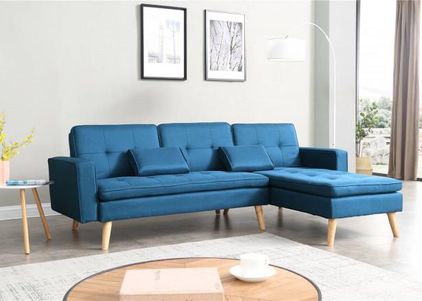 NORA - Canapé d'angle réversible convertible - Bleu canard - 244x155x85cm