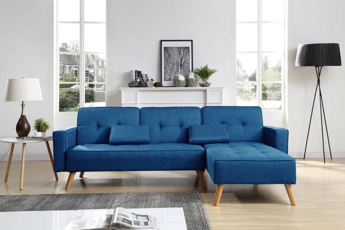 BOBOCHIC LISEA - Canapé d'angle réversible convertible en tissu - Bleu