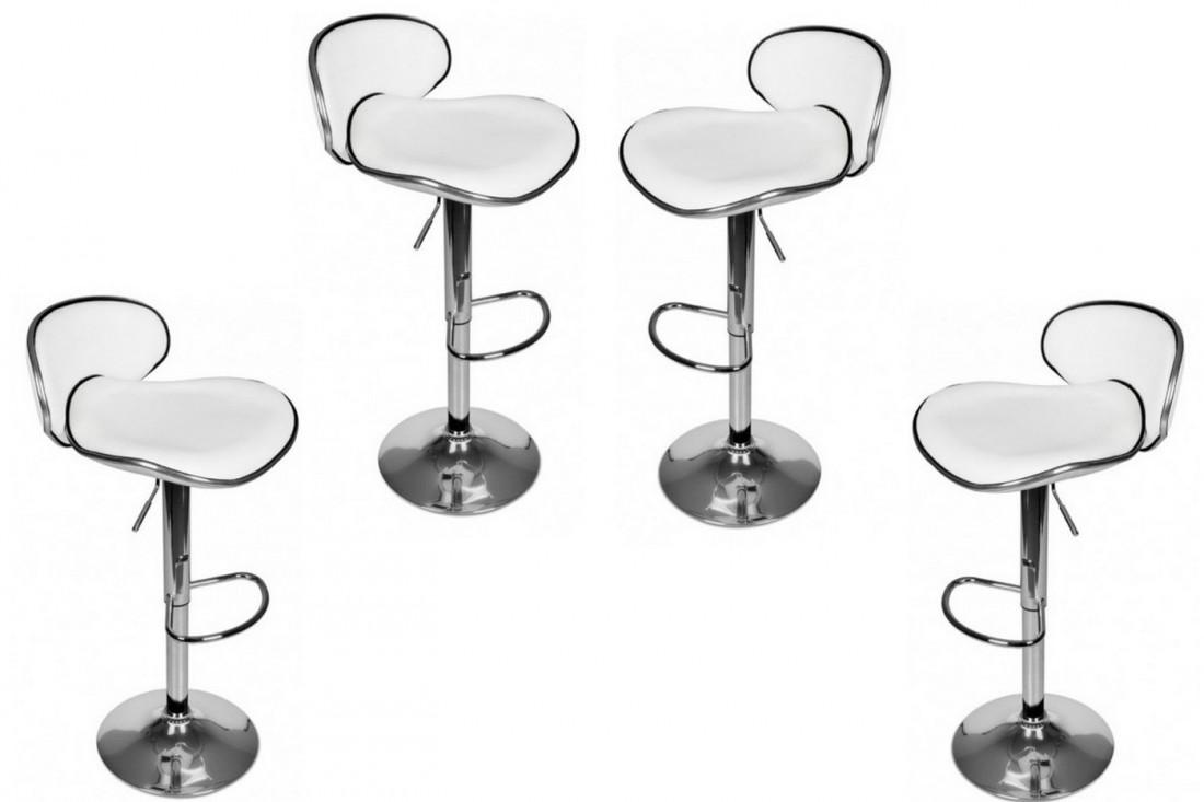 GARY - lot de 4 tabourets de bar - Simili - Blanc