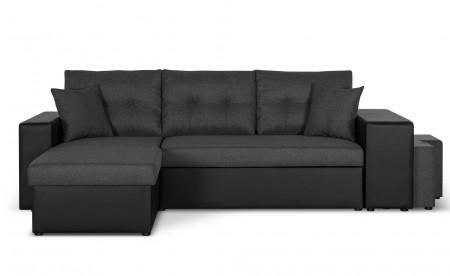 California - Canapé d'angle réversible - convertible avec coffre et étagère de rangement - en simili et tissu