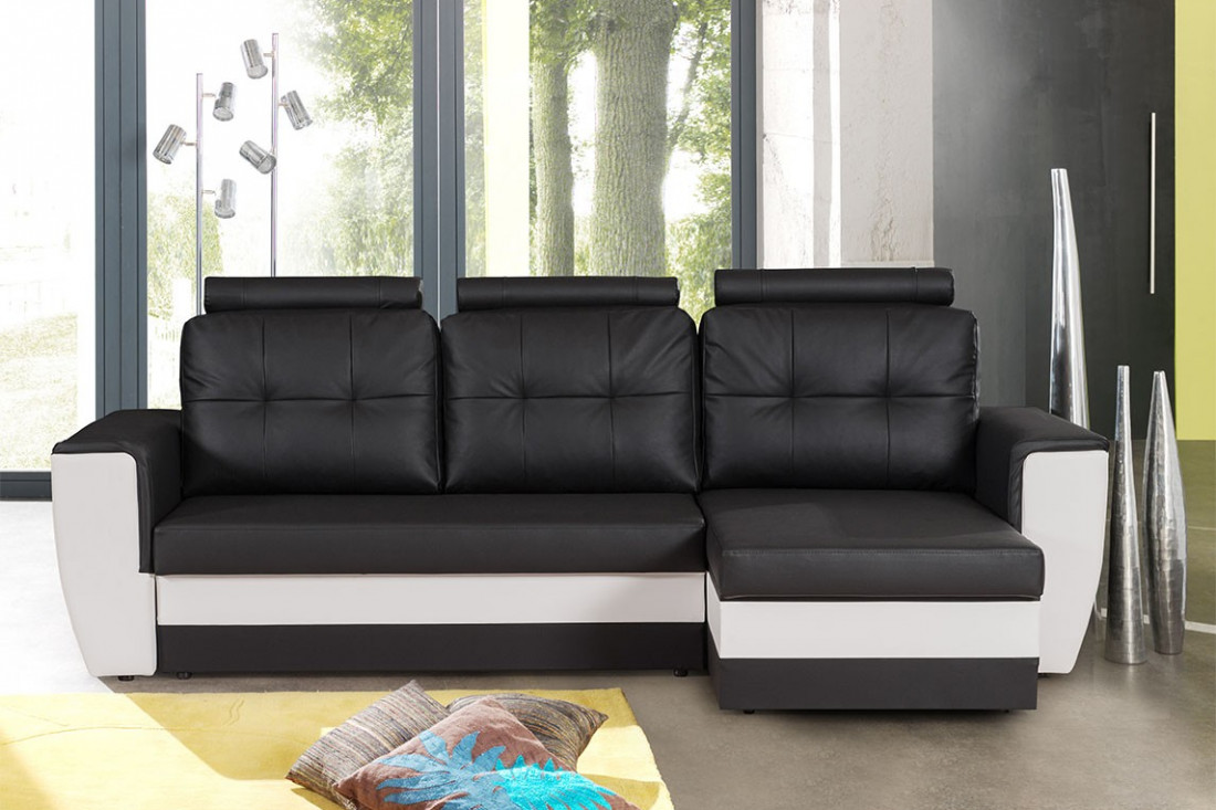 stuttgart noir blanc canap d 39 angle convertible et. Black Bedroom Furniture Sets. Home Design Ideas