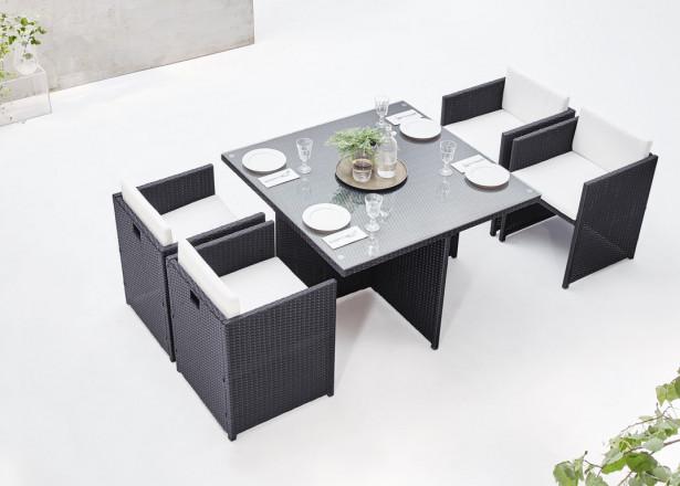 BOBOCHIC Family - Salon de jardin encastrable 4 places - en résine tressée - Noir avec coussins écrus