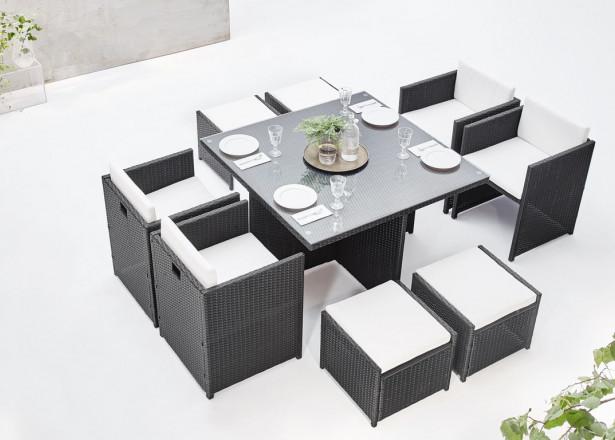 BOBOCHIC Family - Salon de jardin encastrable 8 places - en résine tressée - Noir avec coussins écrus