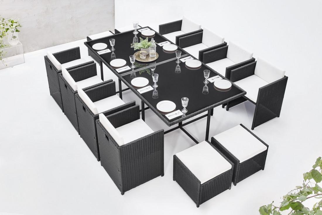 BOBOCHIC Family - Salon de jardin encastrable 12 places - en résine tressée  - Noir avec coussins écrus