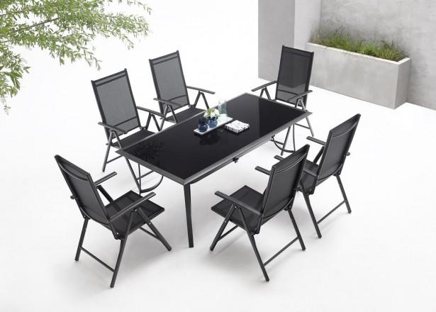 BOBOCHIC Rialto - Salon de jardin 6 places en aluminium et textilène - Noir et gris foncé