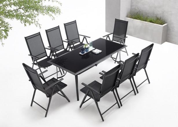 BOBOCHIC Rialto - Salon de jardin 8 places en aluminium et textilène - Noir et gris foncé