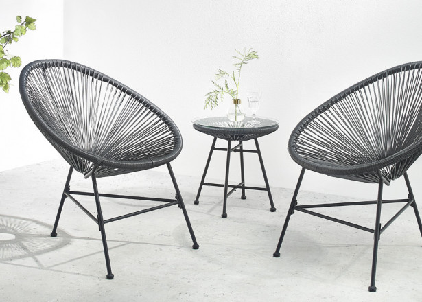 BOBOCHIC Pinto - Salon de jardin 2 places - design oeuf - acier et cordage PVC - Noir