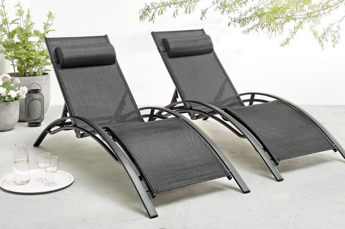 Plus adapté BOBOCHIC Hawai - Duo de transats en aluminium et textilène noir PM-69