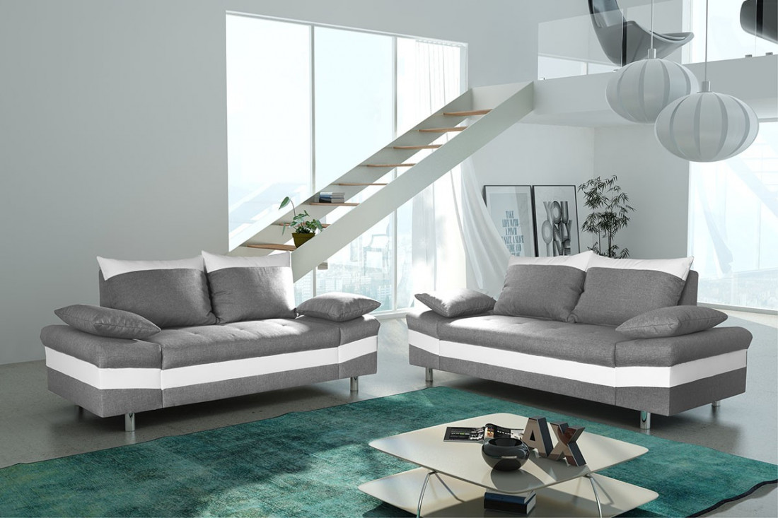 San diego sofas gris blanc canap 3 places 2 places for Canape blanc 2 places