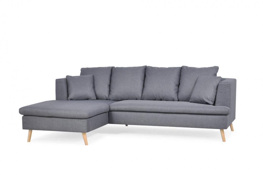 Carl - Canapé d'angle fixe - 4 places - design scandinave - en tissu - Gauche
