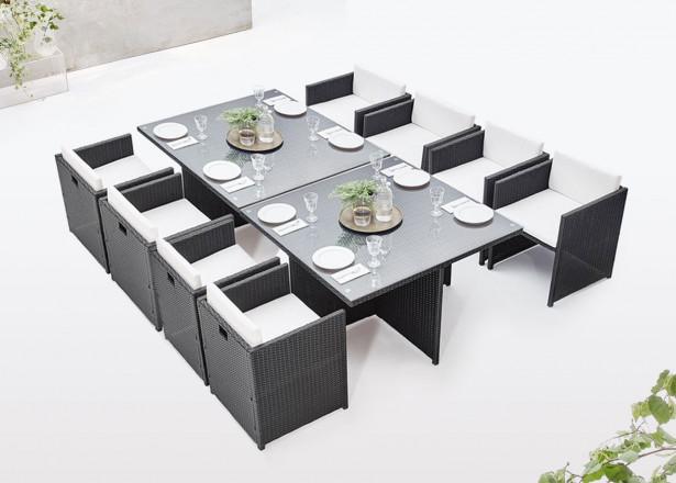 BOBOCHIC Family - Salon de jardin encastrable modulable 8 places - en résine tressée - Noir avec coussins écrus