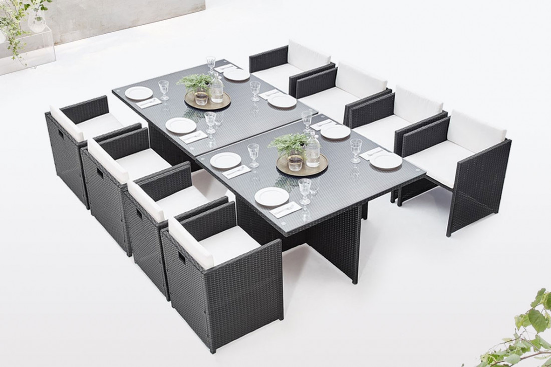 salon de jardin en r sine tress e bobochic lisa design. Black Bedroom Furniture Sets. Home Design Ideas