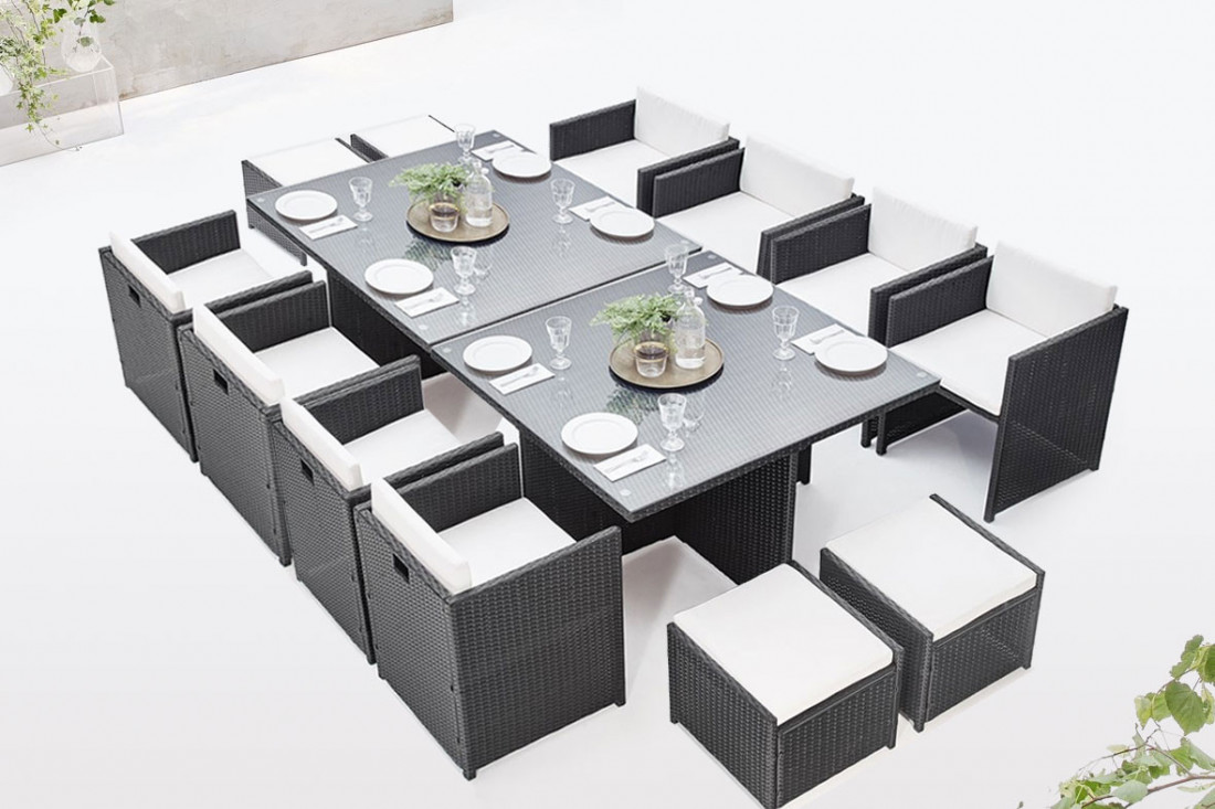 BOBOCHIC Family - Salon de jardin encastrable modulable 12 places - en résine tressée - Noir avec coussins écrus