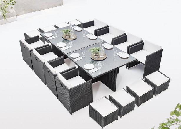 BOBOCHIC Family - Salon de jardin encastrable modulable 16 places - en résine tressée - Noir avec coussins écrus