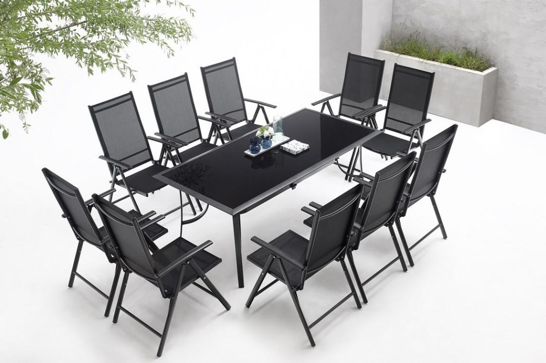 BOBOCHIC Rialto - Salon de jardin 10 places en aluminium et textilène -  Noir et gris foncé