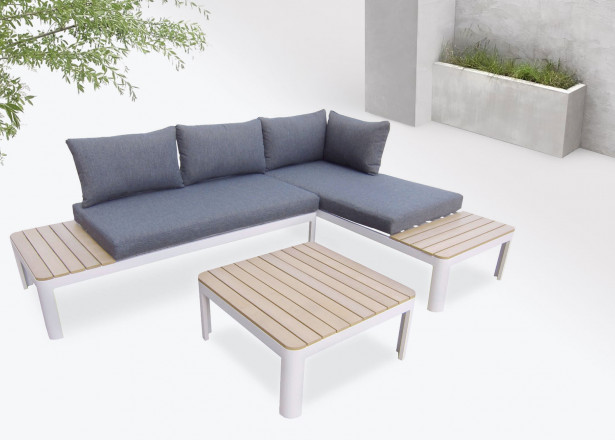 BOBOCHIC Ibiza - Salon de jardin en angle - 4 places - Aluminium / Composite