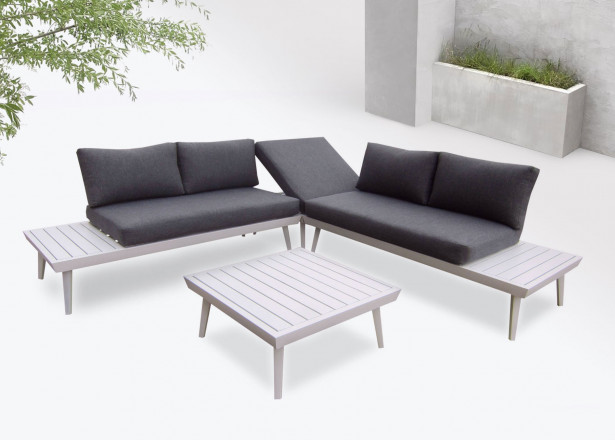 BOBOCHIC Vigo - Salon de jardin en angle - 5 places - Aluminium / Composite