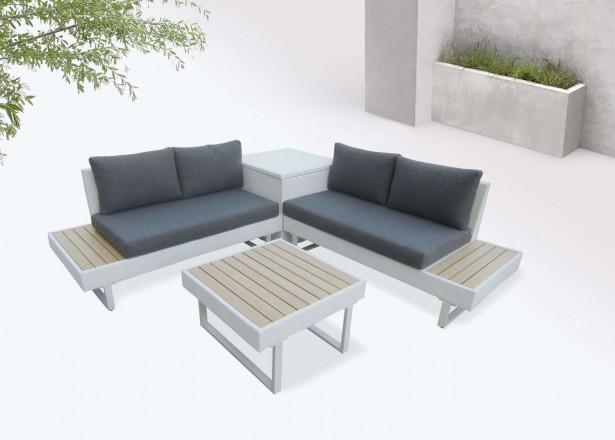 BOBOCHIC Palma - Salon de jardin en angle 5 places - Aluminium / Composite - Coffre