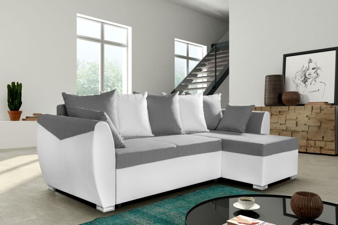BARCELONA Blanc Gris Canapés d angle convertible réversible  LED