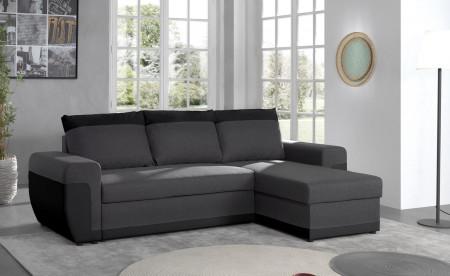 Milan - Canapé d'angle réversible - 4 places - Convertible avec coffre - En simili et tissu