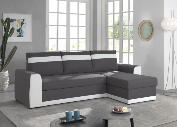 Capri - Canapé d'angle réversible - 4 places - Convertible avec coffre - En simili et tissu