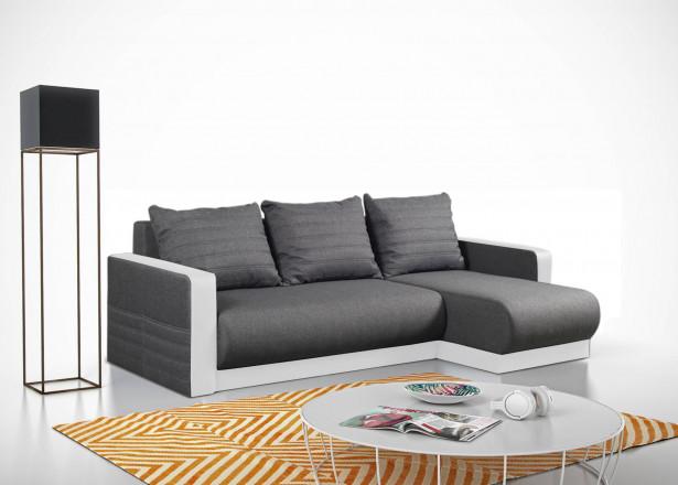 Lewis - Canapé d'angle réversible moderne - 4 places - Convertible avec coffre de rangement