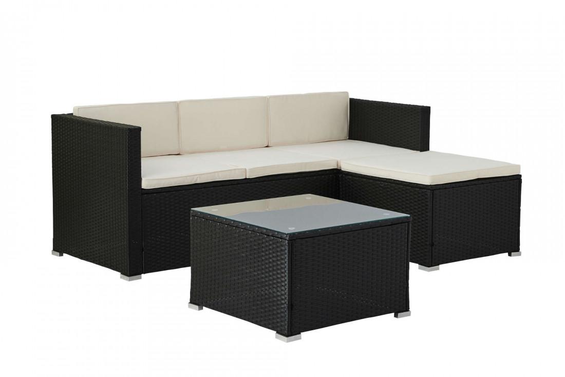 Lumio - Salon bas de jardin 4 places - Modulable - en résine tressée noire avec coussins beiges