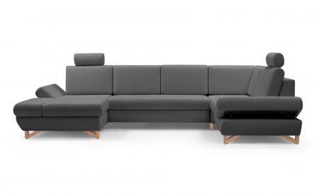 Imola - Canapé d'angle panoramique XXL - 7 places - Convertible avec coffres de rangement - Accoudoirs réglables - Droit