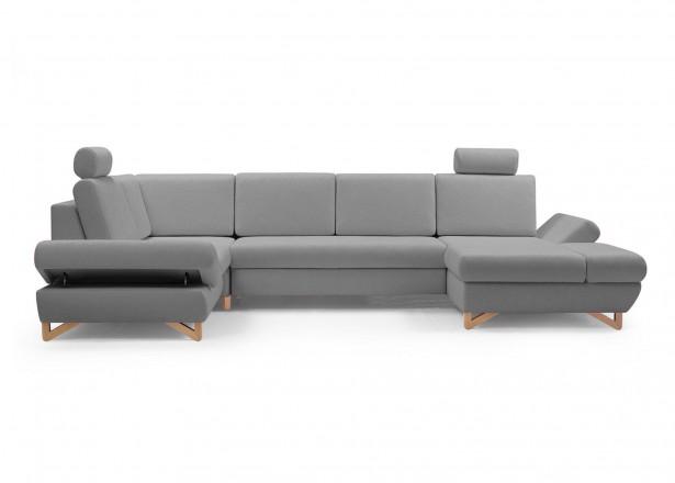 Imola - Canapé d'angle panoramique XXL - 7 places - Convertible avec coffres de rangement - Accoudoirs réglables - Gauche