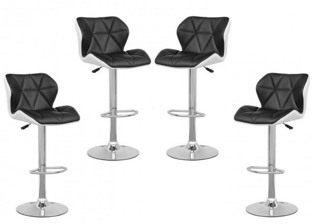 LOU Noir/Blanc LOT de 4 tabourets de bar