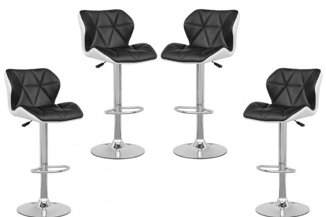 tabouret de bar noir et blanc 14 lou noir blanc lot de 4. Black Bedroom Furniture Sets. Home Design Ideas