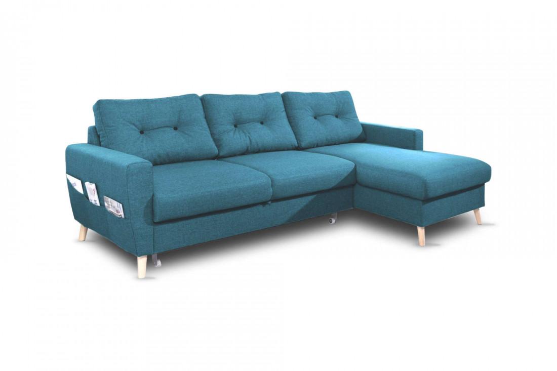 OSLO - Canapé d'angle droit convertible - Bleu canard - 225x147x86cm - Bobochic