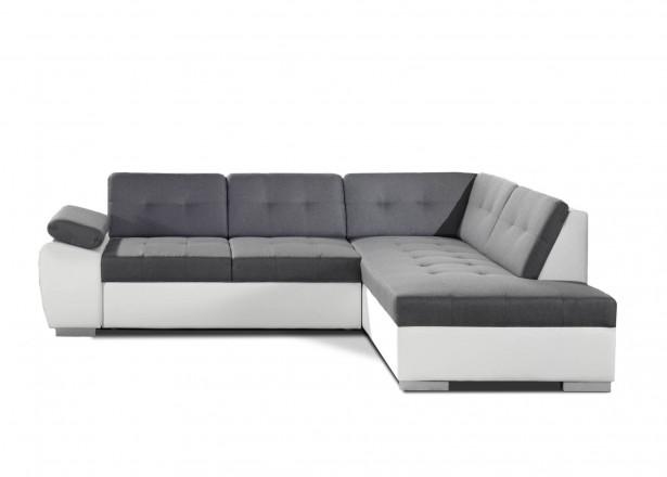 Dakota - Canapé d'angle convertible - en simili et tissu - Droit