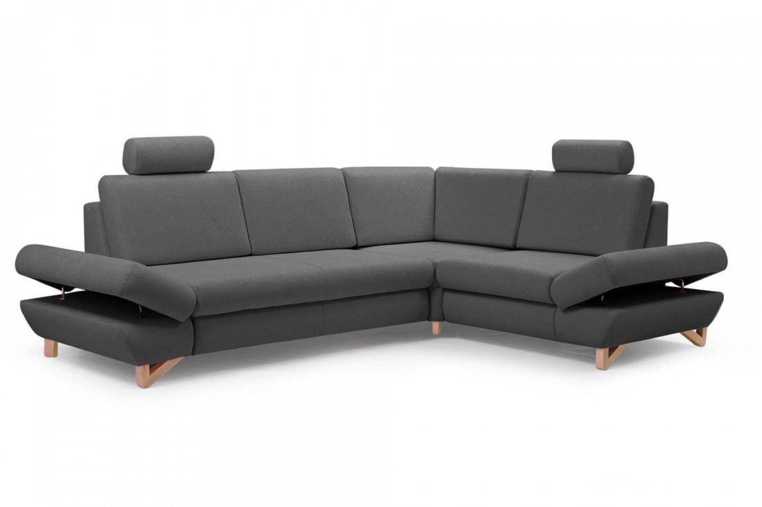 Imola - Canapé d'angle moderne - 5 places - Convertible avec coffre de rangement - Accoudoirs réglables - Droit
