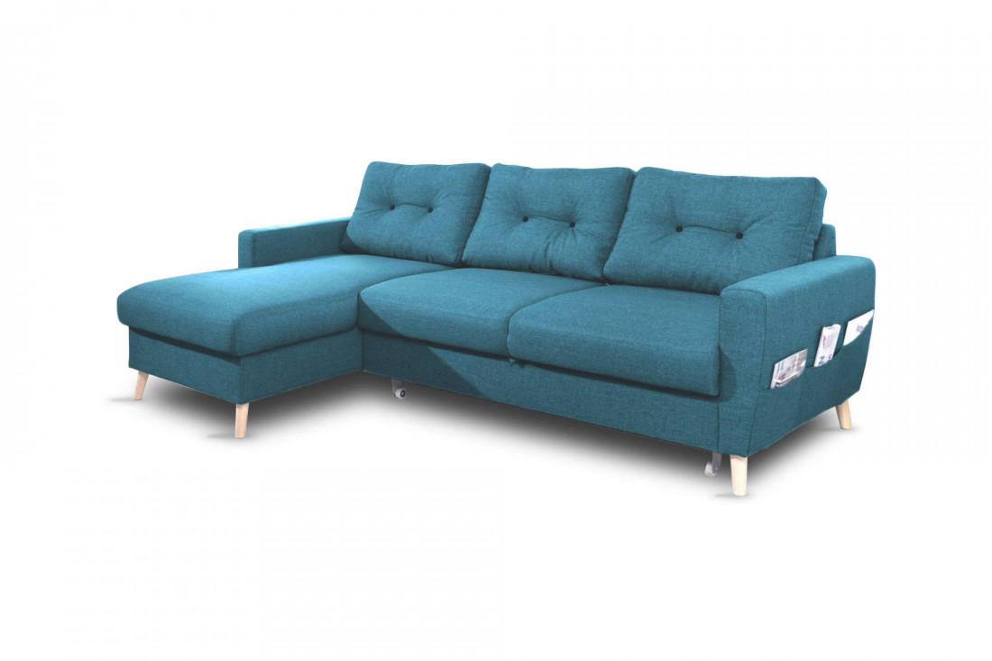 OSLO - Canapé d'angle gauche convertible - Bleu canard - 225x147x86cm - Bobochic