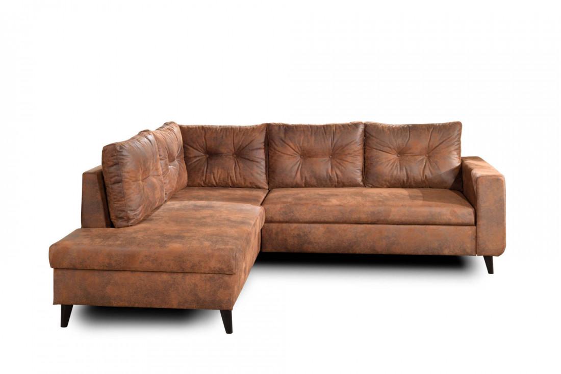 NORDIC - Canapé d'angle L - 5 places - Convertible - Industriel vintage - Gauche