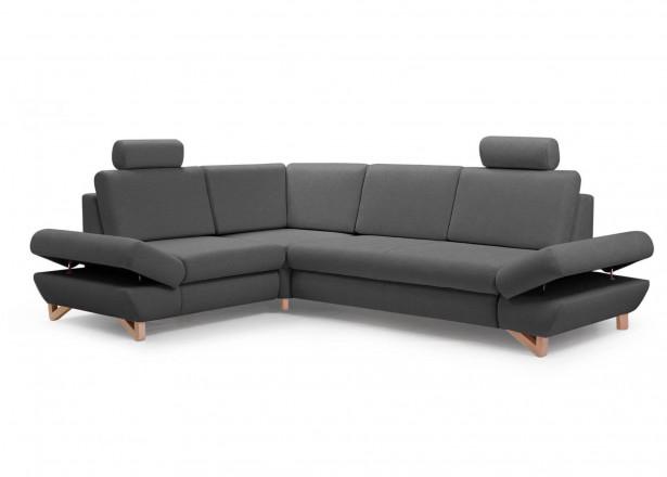 Imola - Canapé d'angle moderne - 5 places - Convertible avec coffre de rangement - Accoudoirs réglables - Gauche