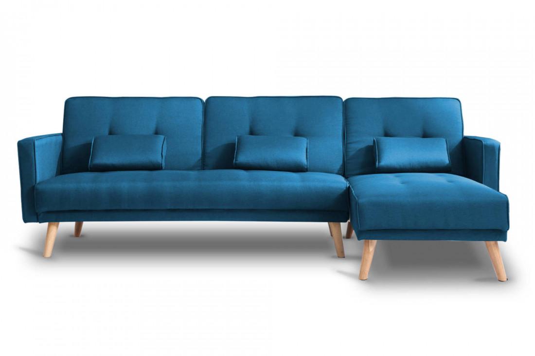 SCANDINAVE - Canapé d'angle réversible convertible - 267x151x88cm - Bleu canard