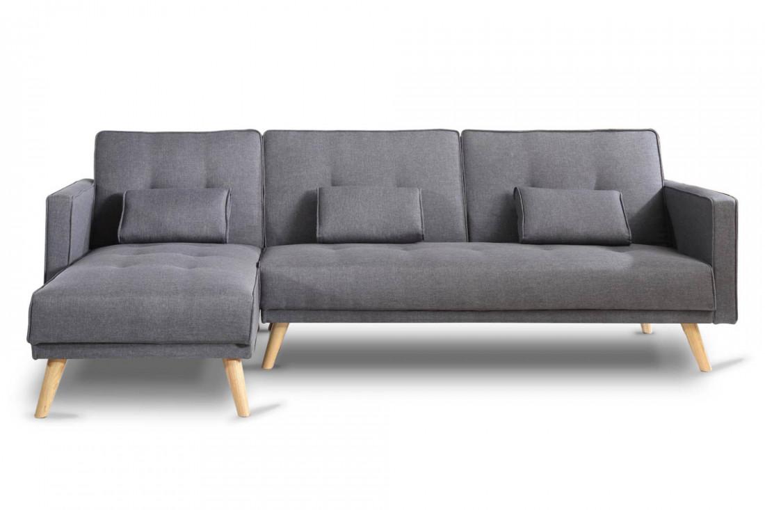 SCANDINAVE - Canapé d'angle réversible convertible - 267x151x88cm - Gris foncé