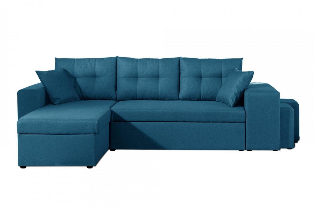 California - Canapé d'angle réversible et convertible avec coffre de rangement - 246x85x145cm - Bleu canard