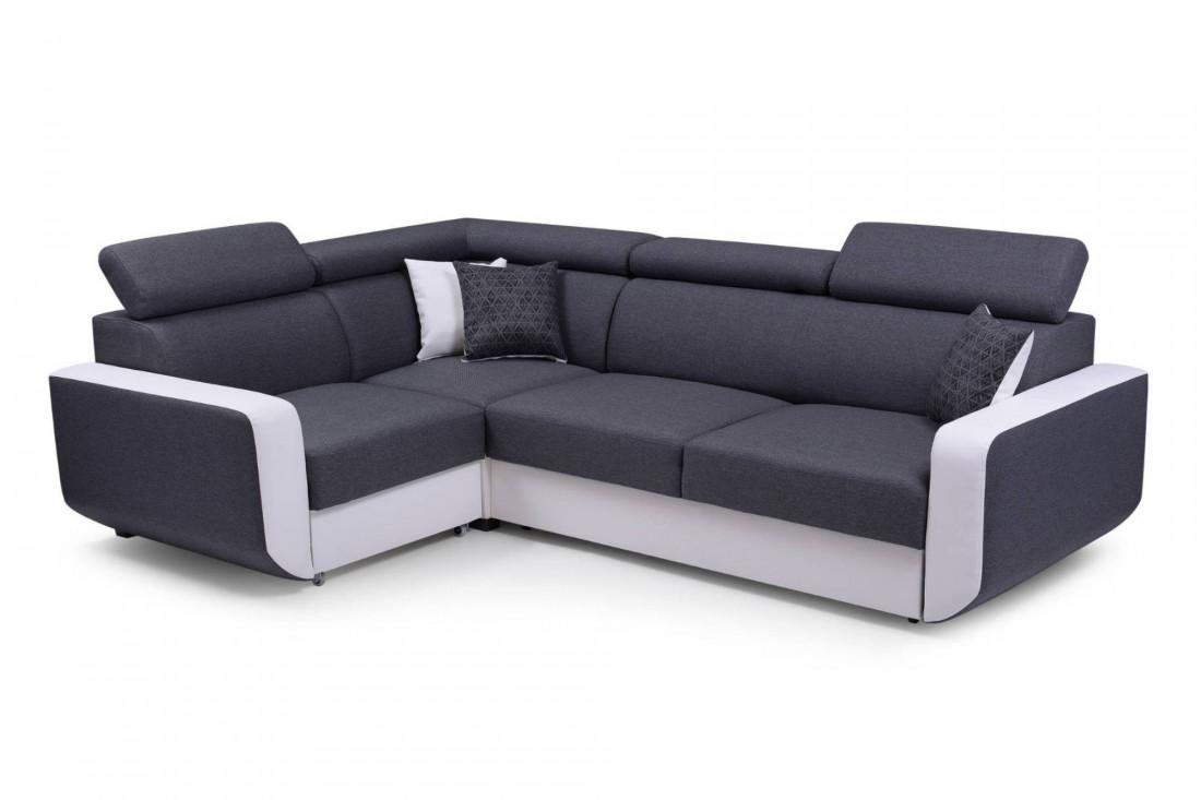 Dustin - Canapé d'angle L réversible - 5 places - Convertible avec coffre - Têtieres réglables