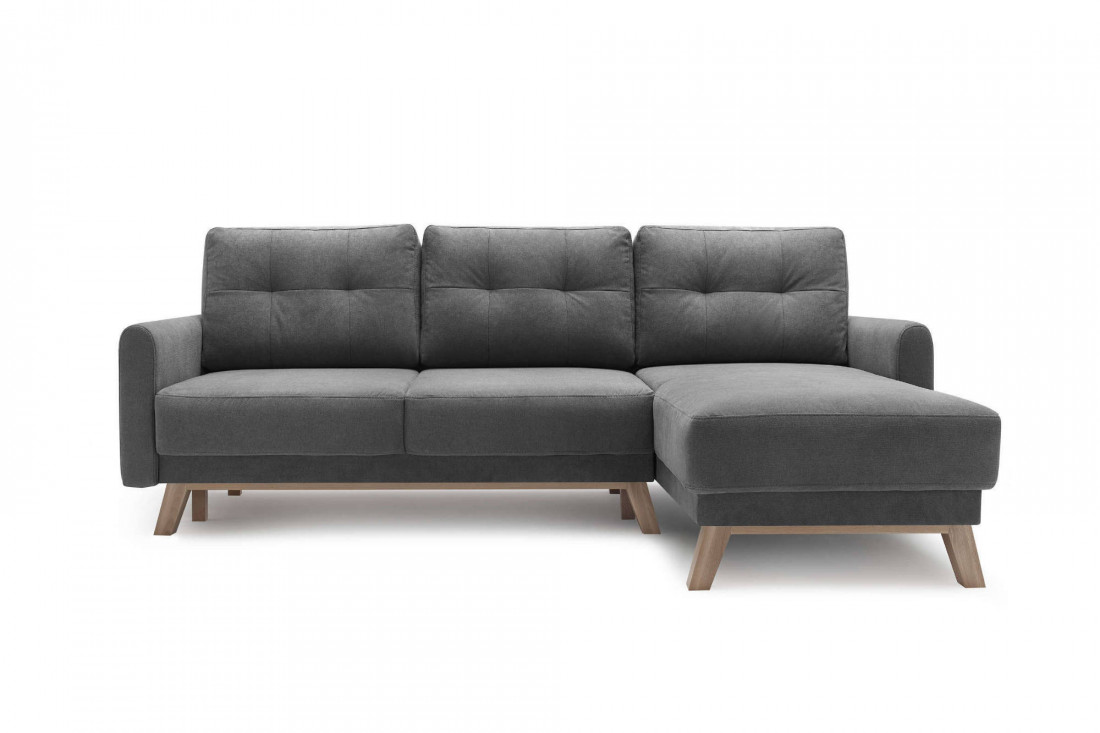 BOBOCHIC BALIO - Canapé d'angle en tissu convertible avec coffre 4 places - Droit