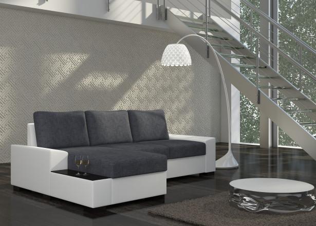 NEGRO - Canapé d'angle gauche convertible