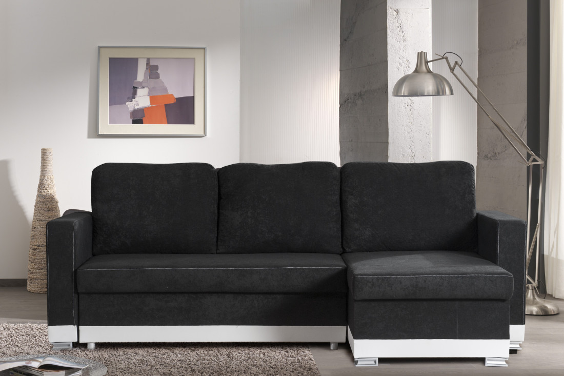reykjavik gris noir canap d 39 angle convertible r versible. Black Bedroom Furniture Sets. Home Design Ideas