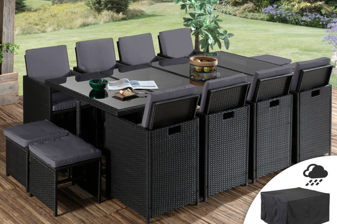 Sophia - Salon de jardin encastrable 7 places - en résine tressée - Noir  avec coussins gris + Housse de protection